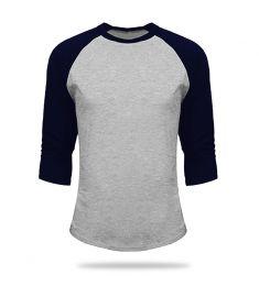 T Shirt Baseball Grey And Navy