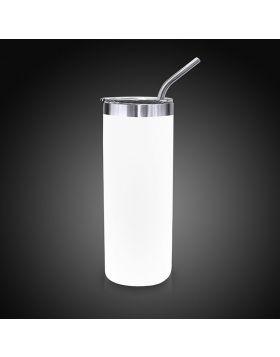 Cup Metal White Skinny 20 Oz