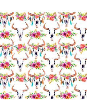 Watercolors Bulls Skull Flowers Vinyl